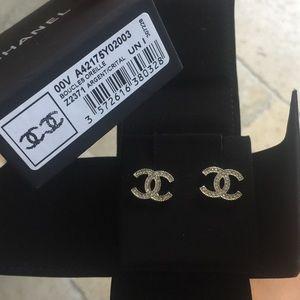 Auth Chanel CC Silver Tone Crystals Studs Rare